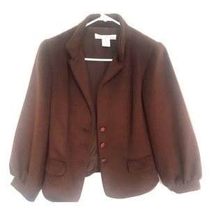 Chocolate Oscar De La Renta wool/silk jacket, sz 8